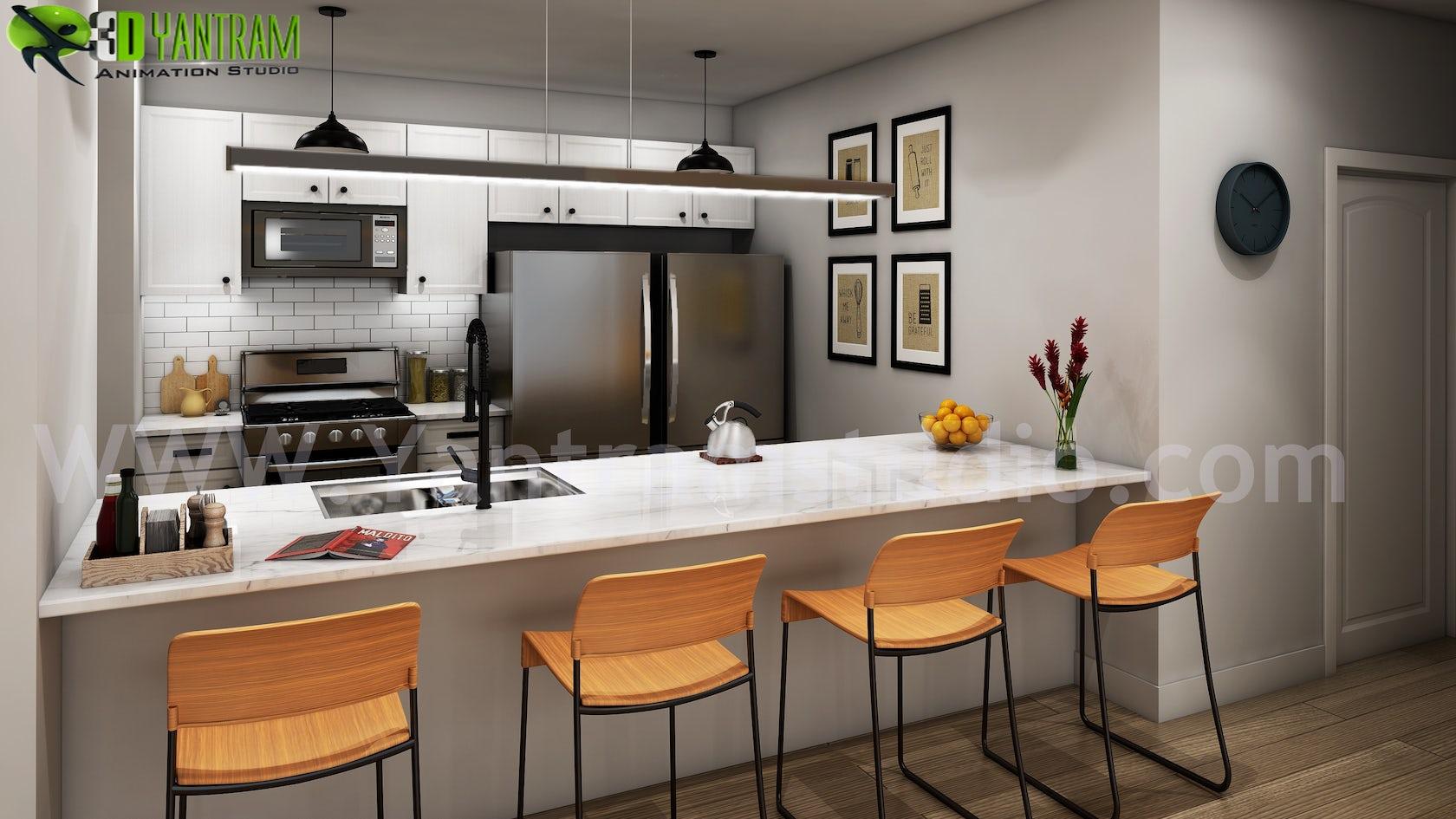 Modern Small Kitchen Design Ideas by Yantram 20d Interior Rendering ...