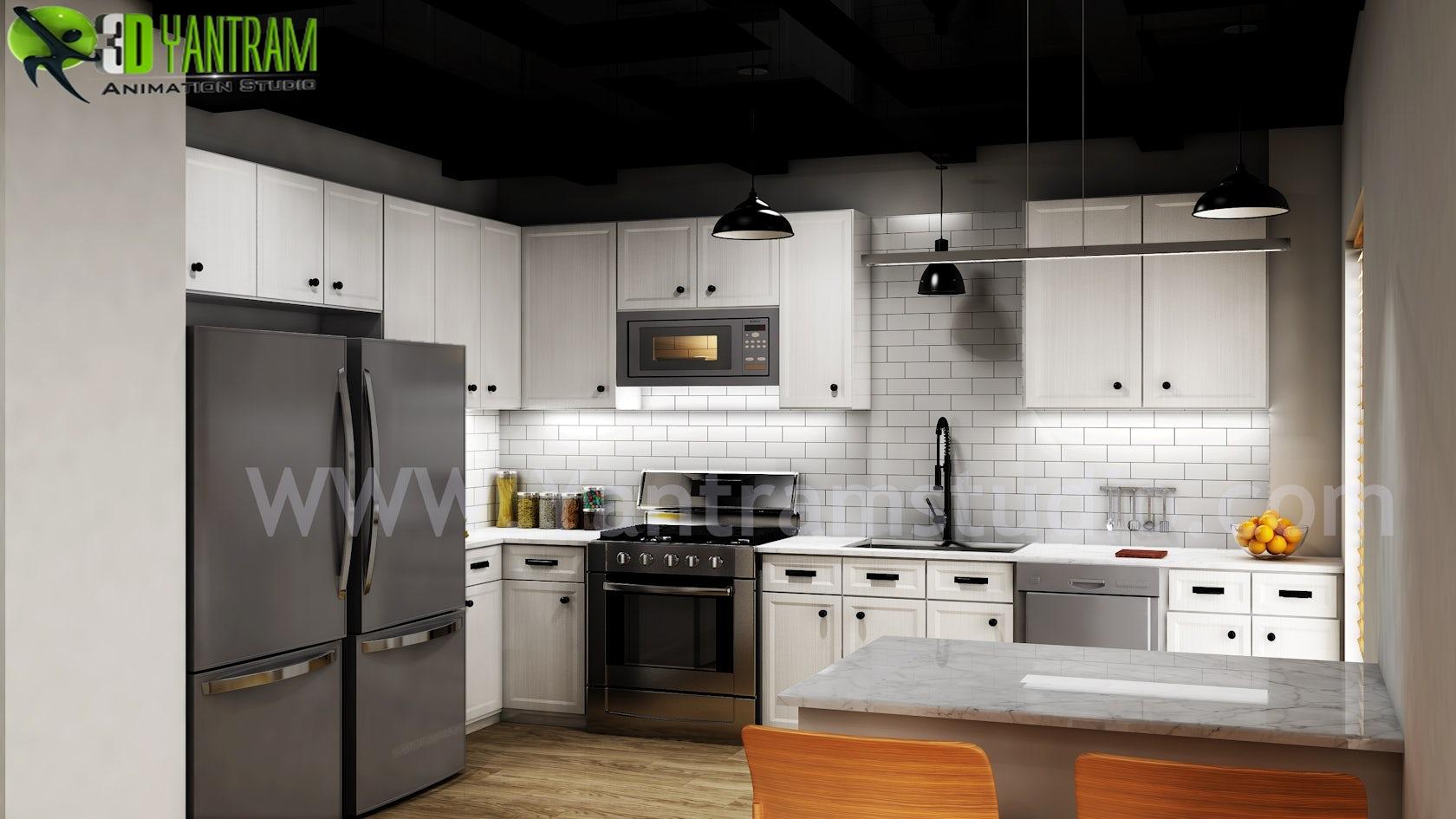 Modern Small Kitchen Design Ideas by Yantram 9d Interior Rendering ...