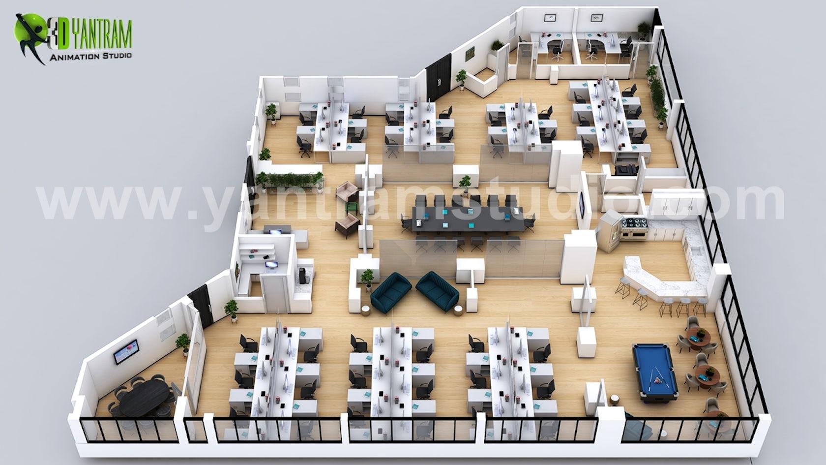 3d office virtual floor plan design ideas by yantram architectural design studio architizer. Black Bedroom Furniture Sets. Home Design Ideas