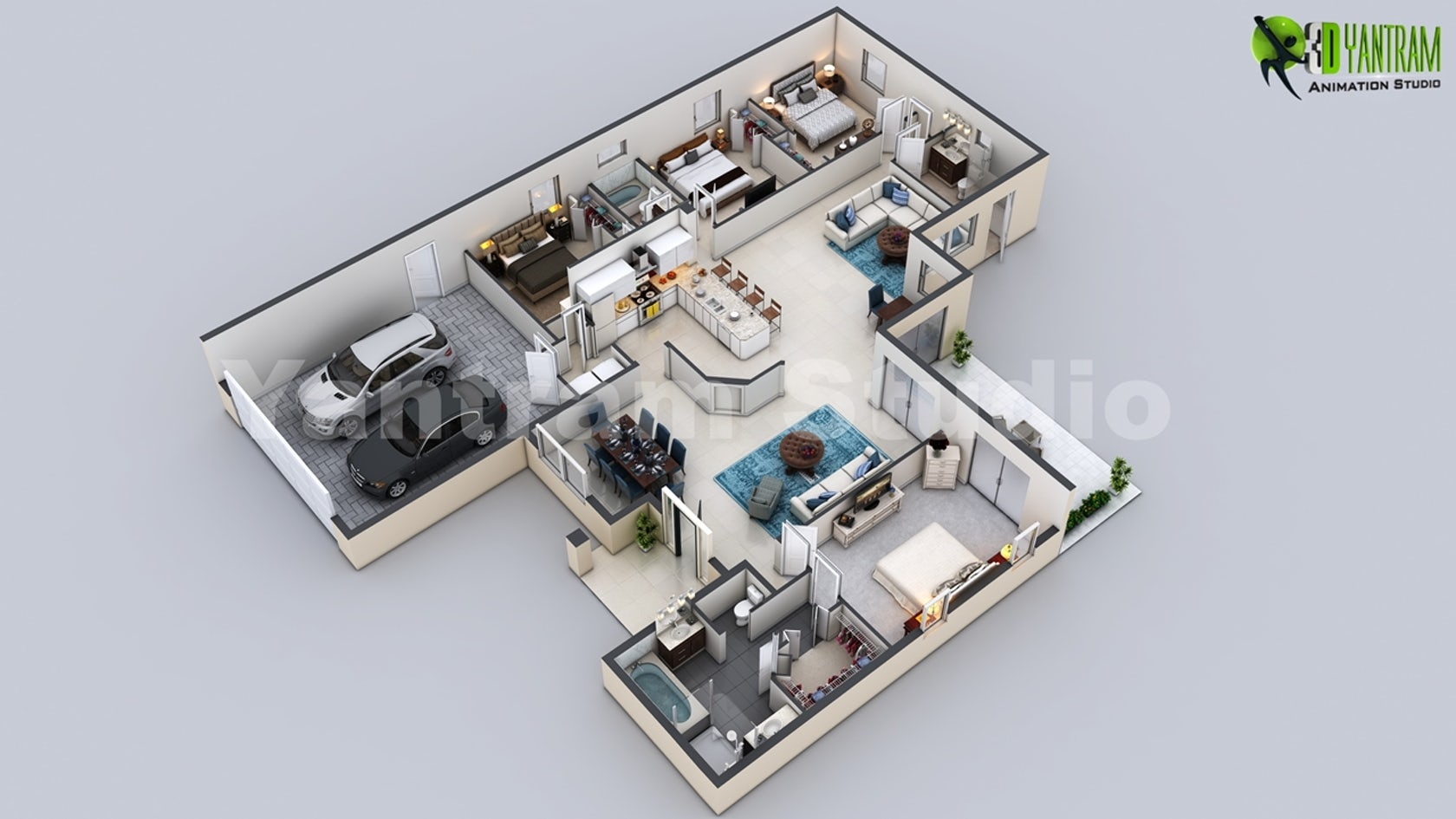 3D Virtual Floor Plan Of Luxurious Villa Design By Yantram Architectural Design Studio By Floor Plan Designer - Architizer