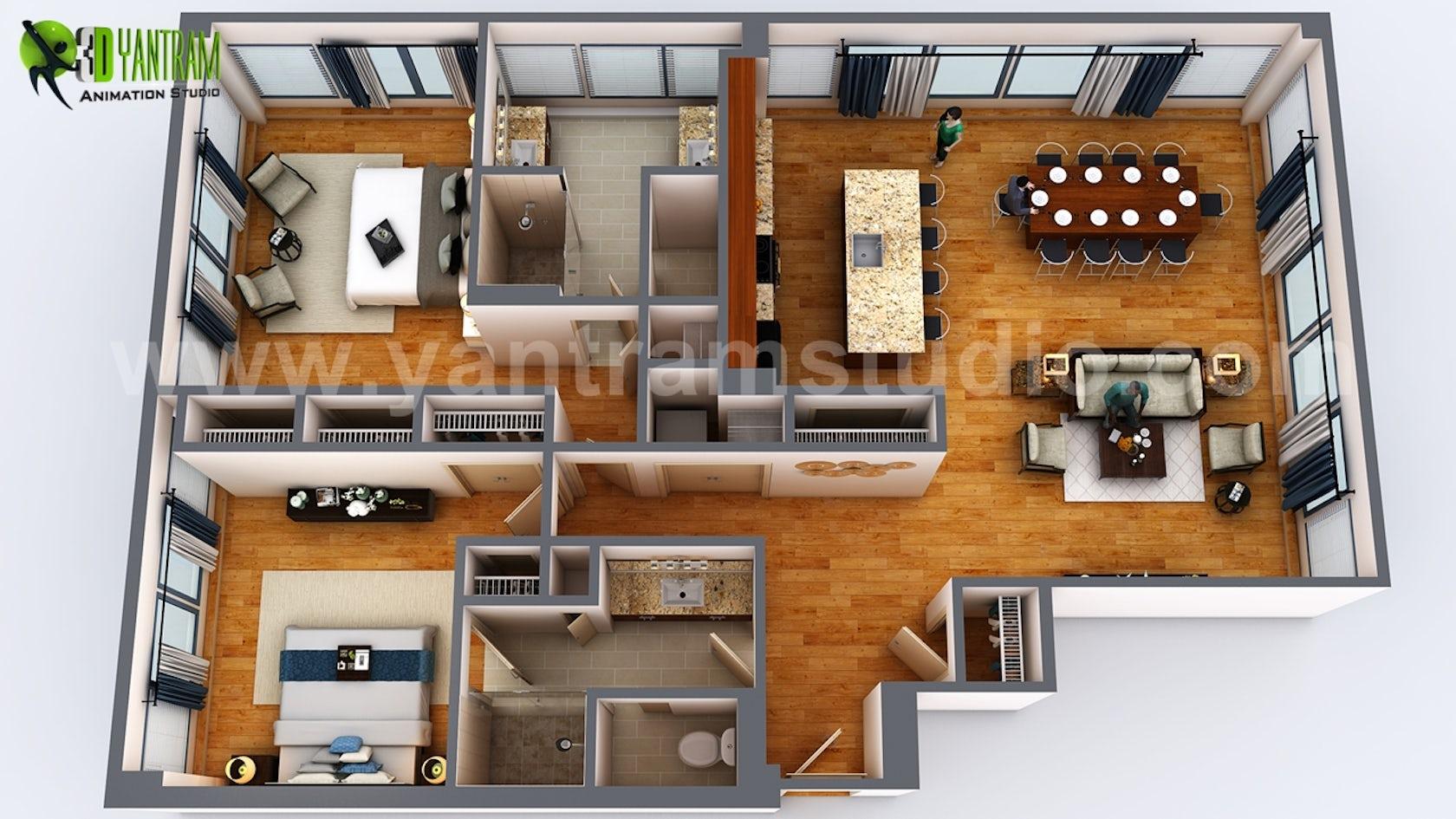 3d Floor Plan Rendering Apartment Design On Architizer