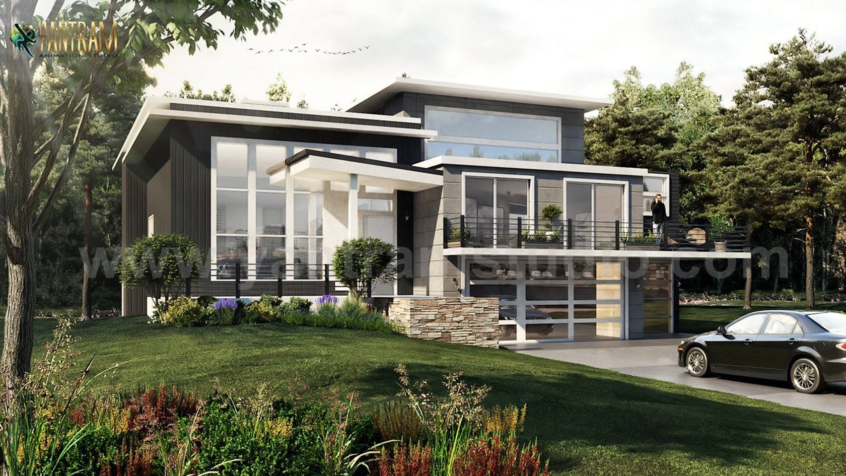 Modern Flat Roof Landscaping Exterior House Concept By Architectural Exterior Visualization Design Company Architizer