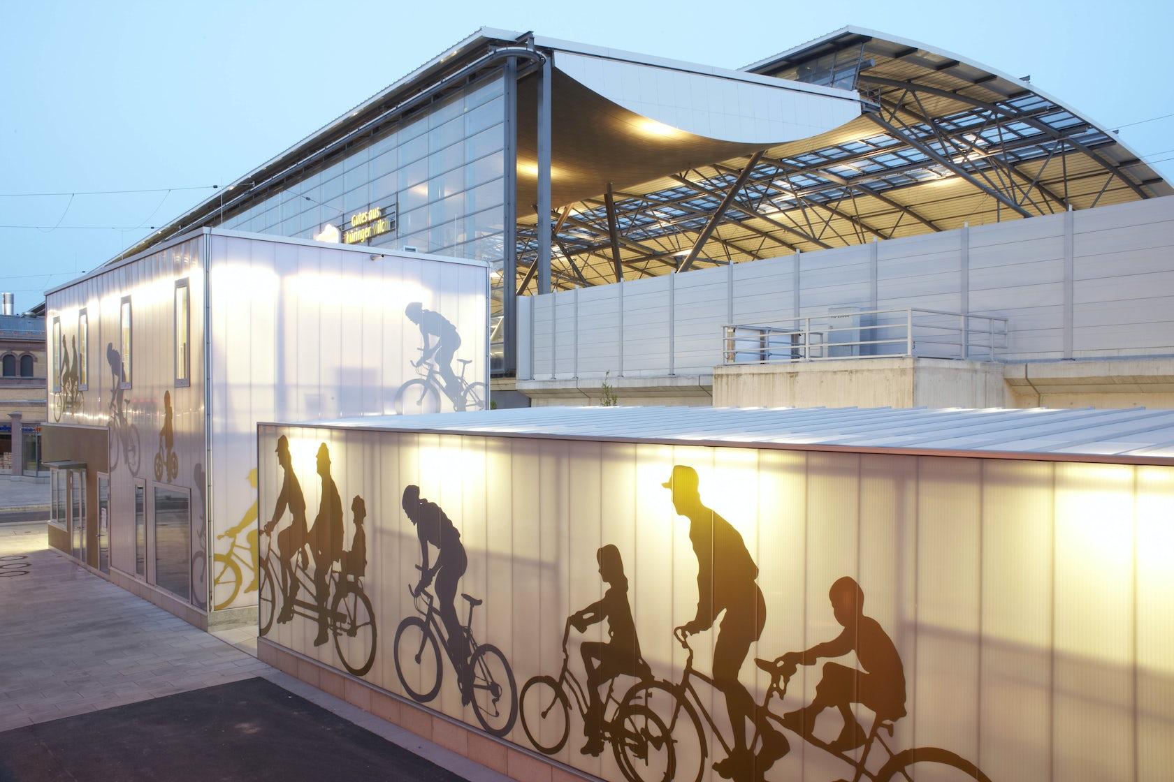 bicycle station ice bahnhof erfurt architizer. Black Bedroom Furniture Sets. Home Design Ideas