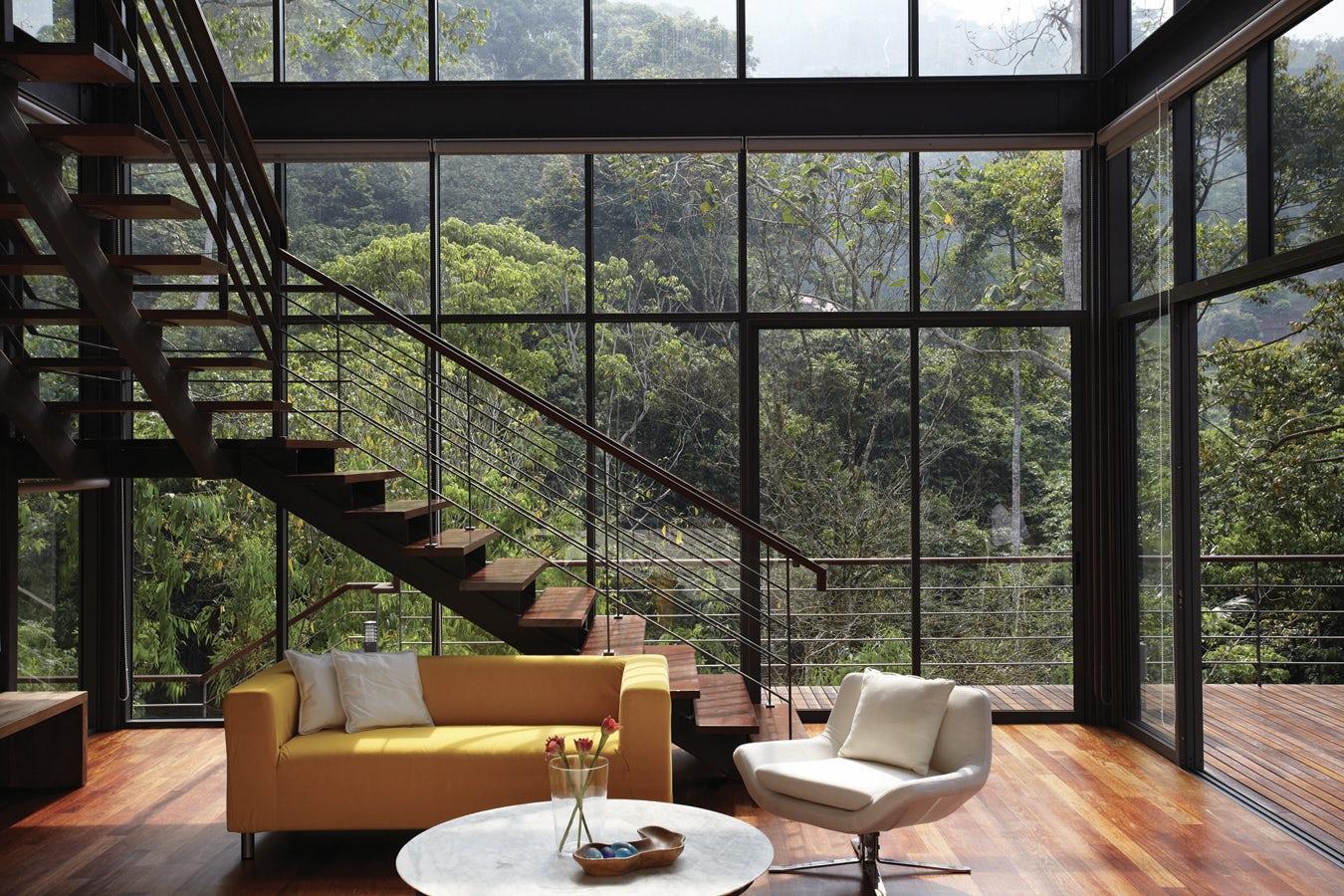 Дизайны домов с большими окнами 850