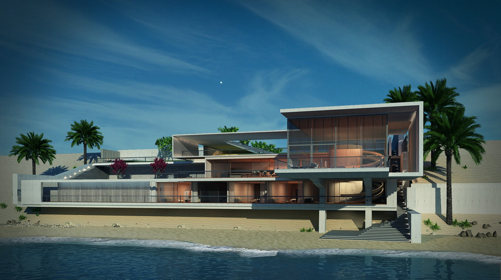 Multi storey beach house in rak uae architizer for Modern house uae
