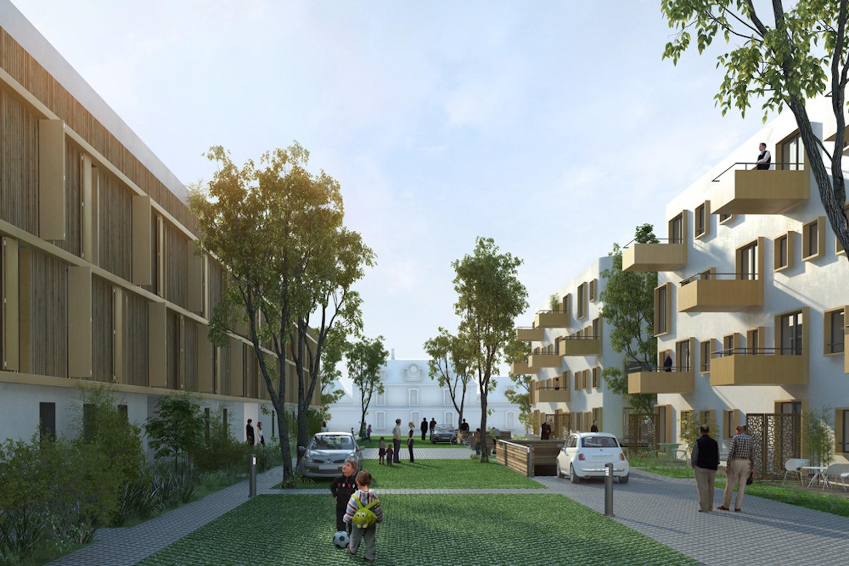 110 logements bourges architizer. Black Bedroom Furniture Sets. Home Design Ideas