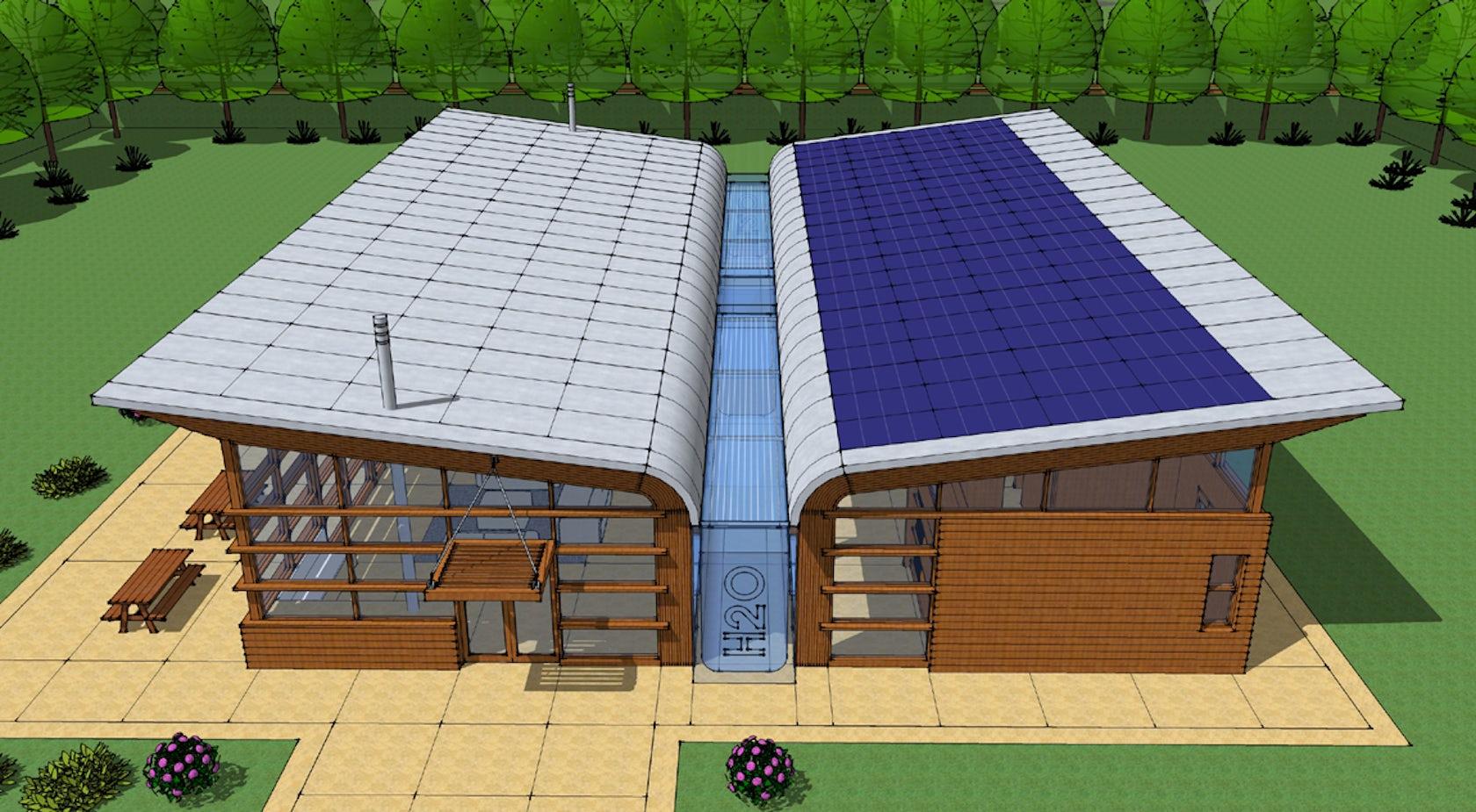 Rainwater and solar power harvesting system architizer for Rain harvesting system design