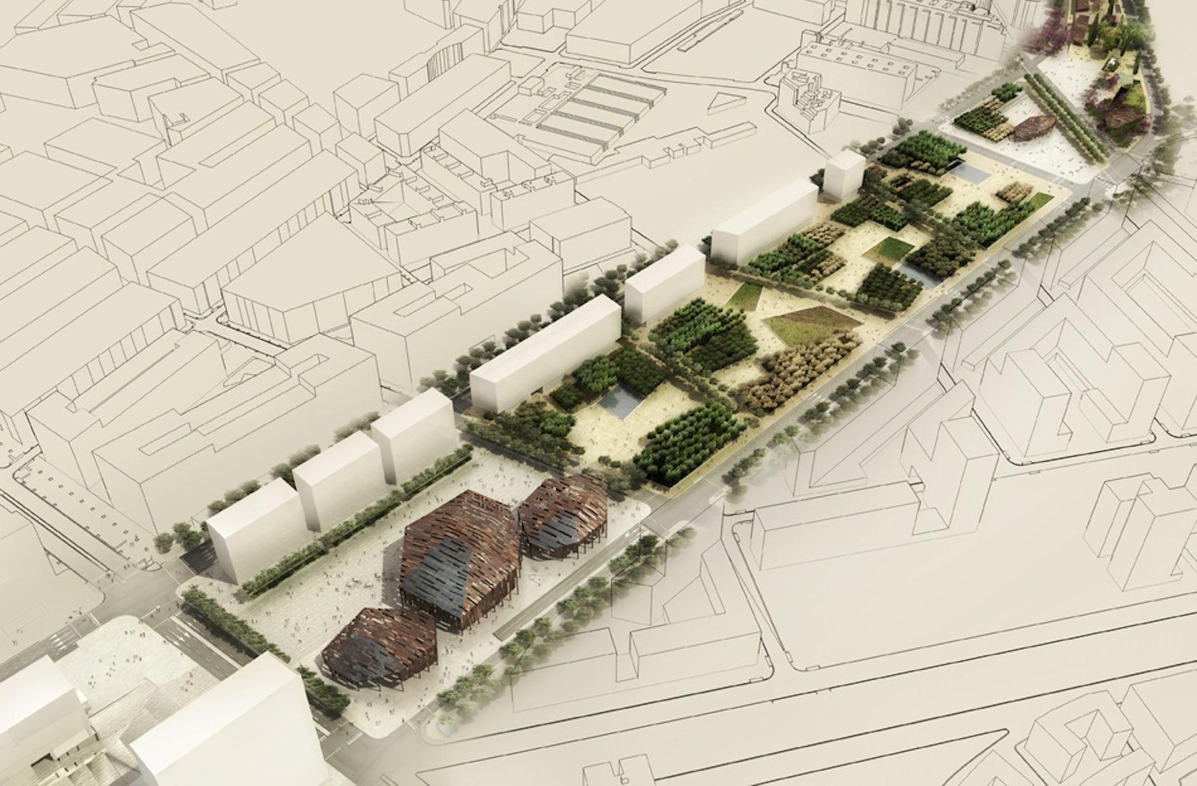 Sagrera linear park architizer for Linear architecture design
