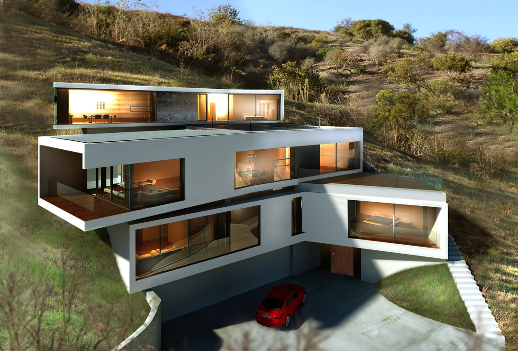 Los angeles hillside modern architizer for Modern house projects