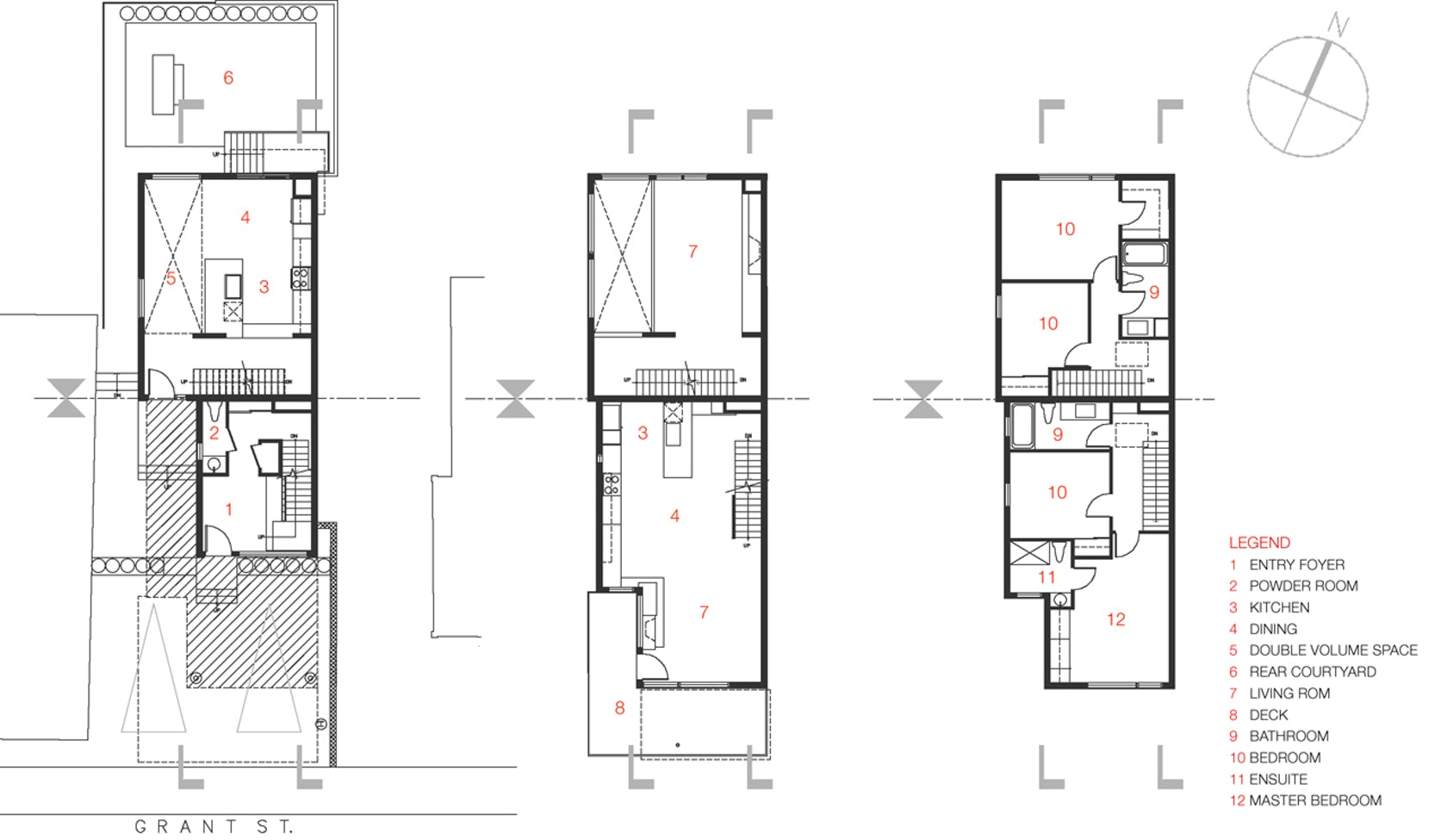 Front to back infill architizer for Infill home plans