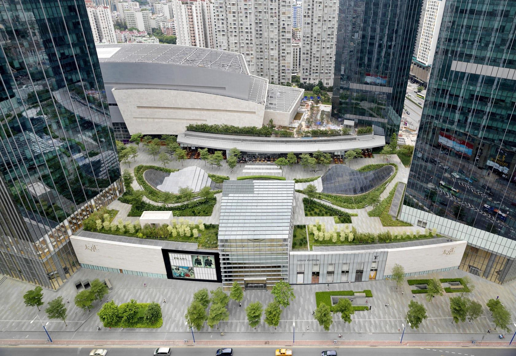 Taikoo hui green roof and plazas architizer - Jonathan s restaurant garden city ...