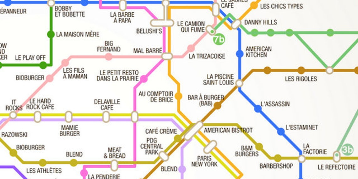 Paris Metro Subway Map.7 Subway Maps For Finding The Nearest Burger Beer Snooze And More