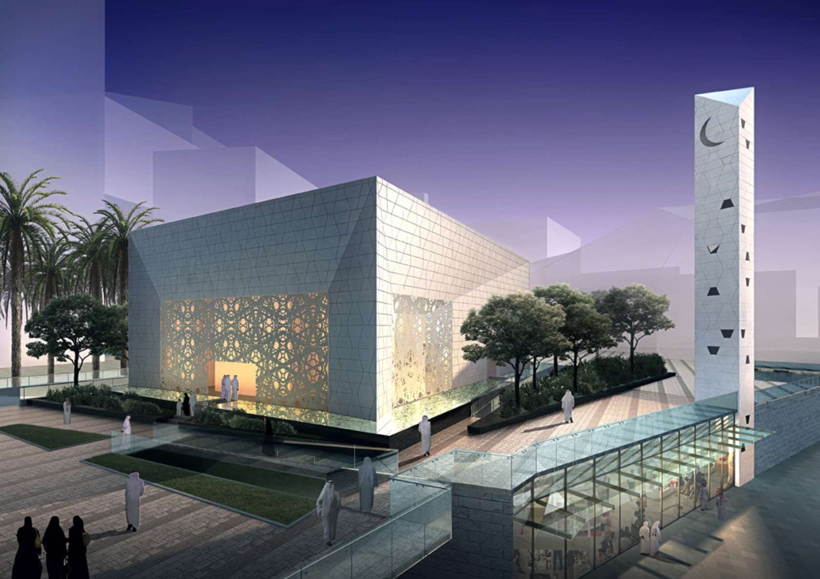 Masjid King Abdullah Financial District di Riyadh, desain FXFOWLE Architects | architizer