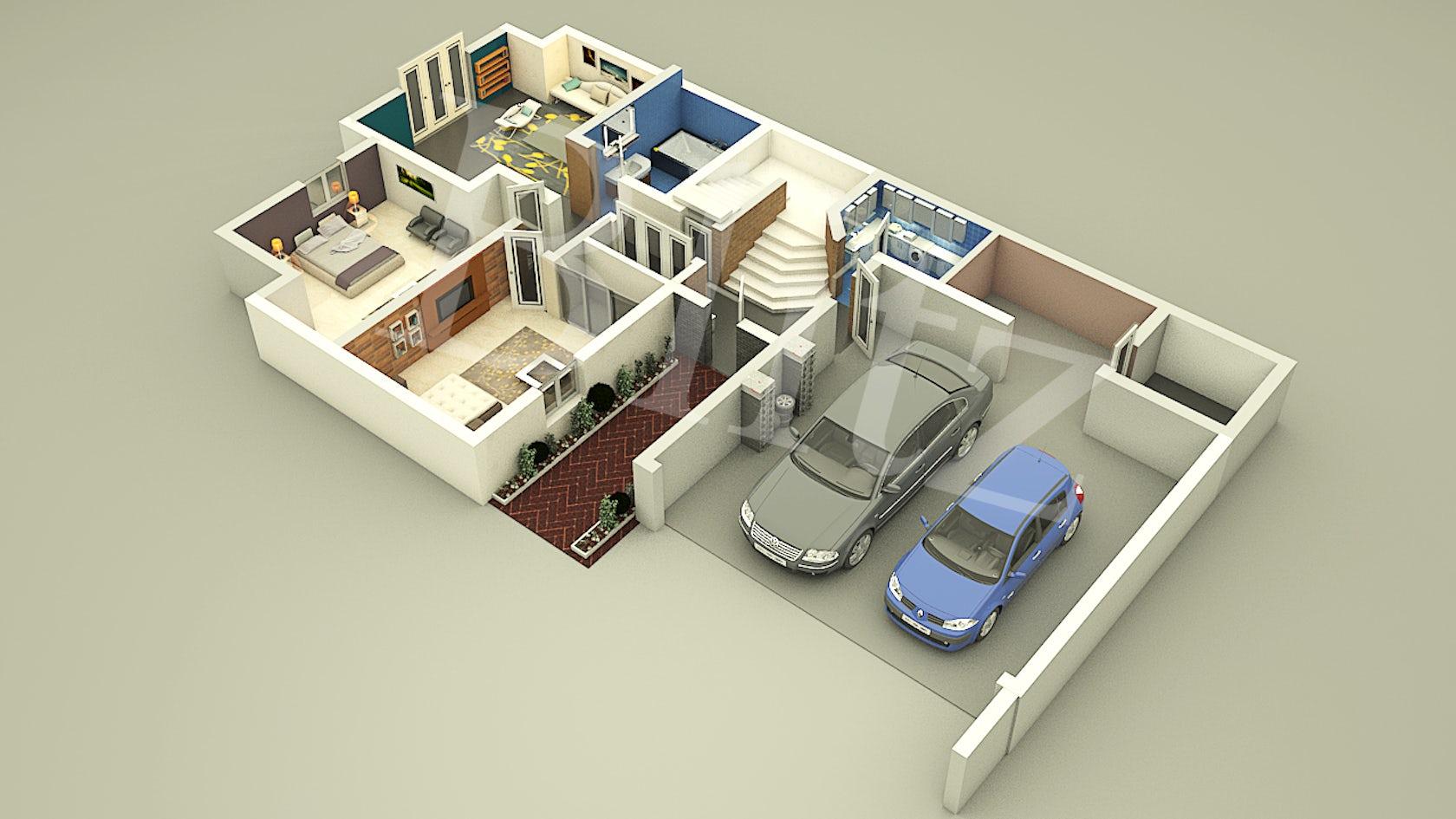 3d animation company architizer - Floor plan 3d house building design ...