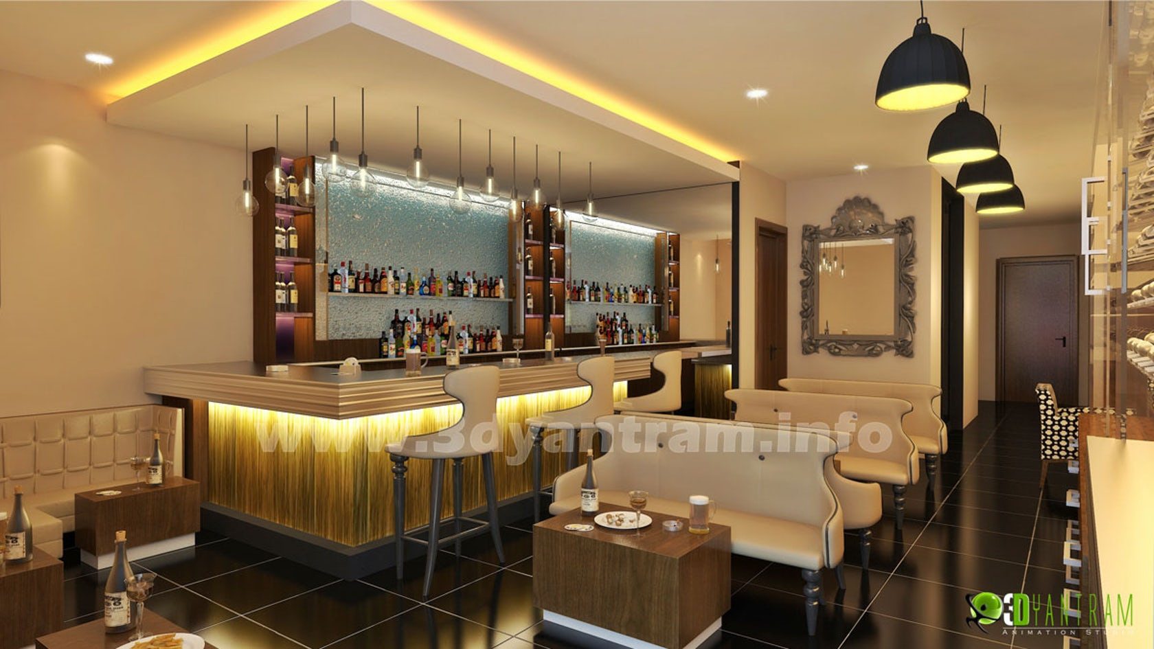 Bar - Restaurant 3D Interior Design - Architizer