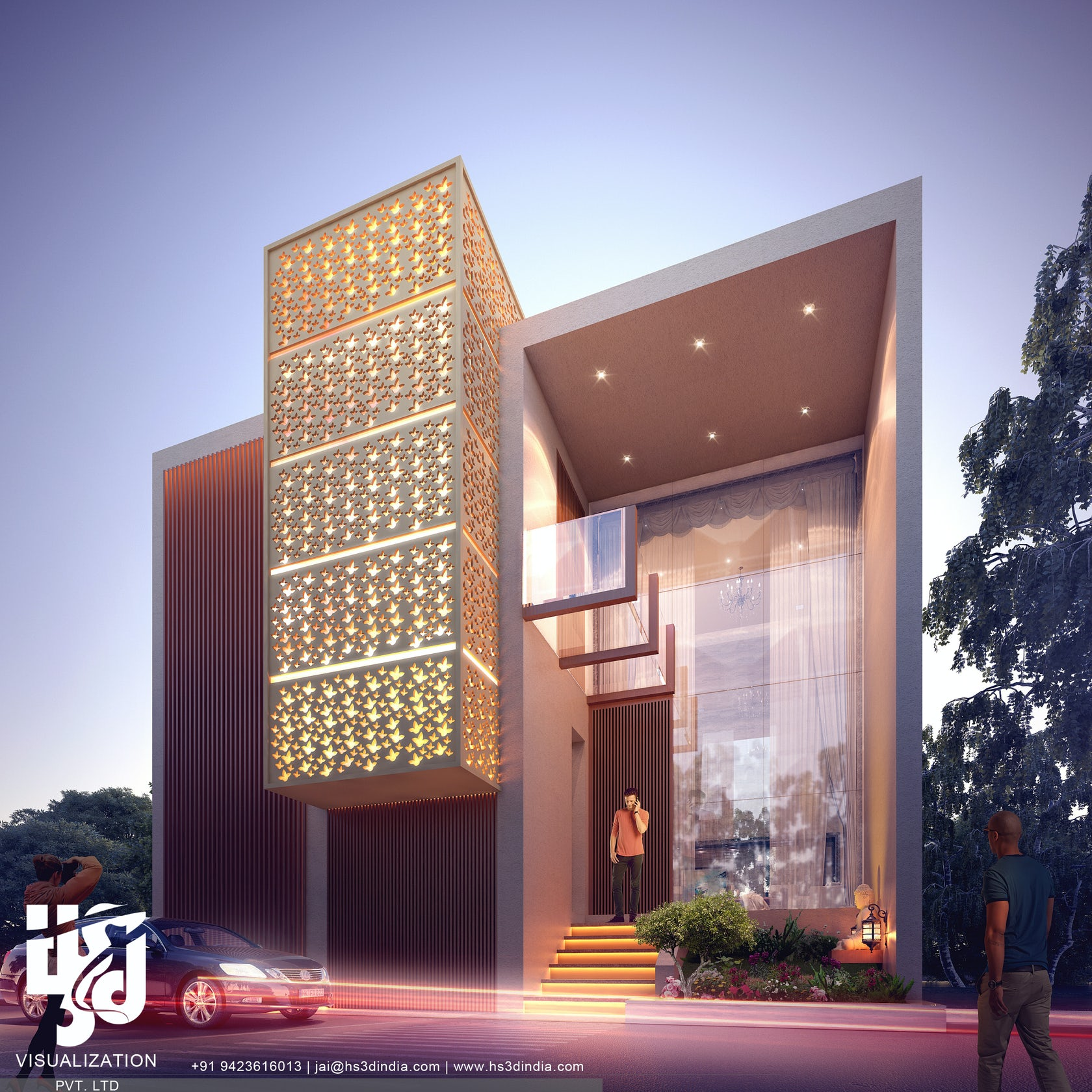 Architecture Exterior: RESIDENTIAL EXTERIOR NIGHT RENDERING BY HS 3D INDIA
