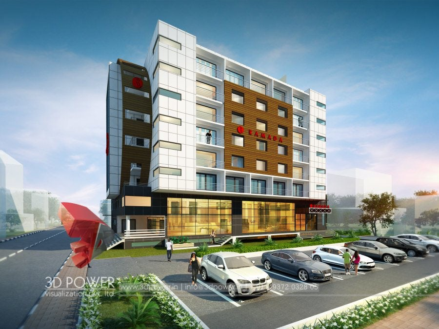 Spectacular 3d Hotel Exterior Rendering And Elevation