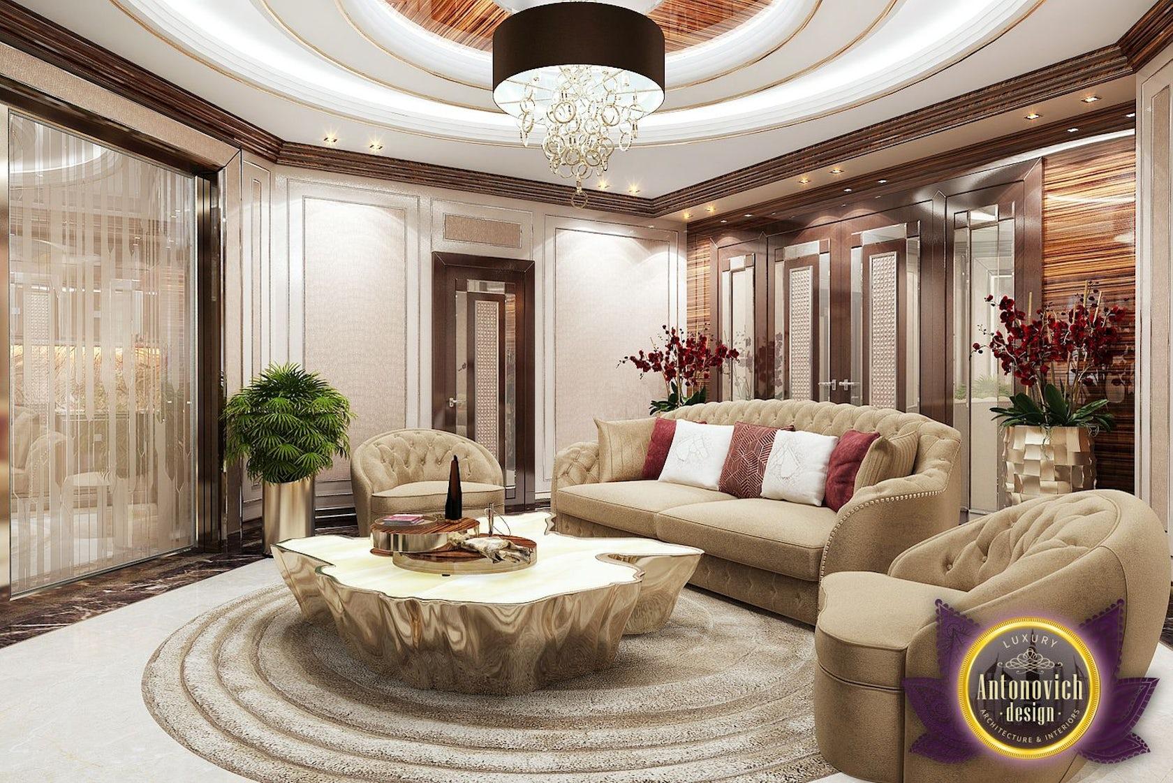 Living room design in Nigeria Abuja by LUXURY ANTONOVICH DESIGN