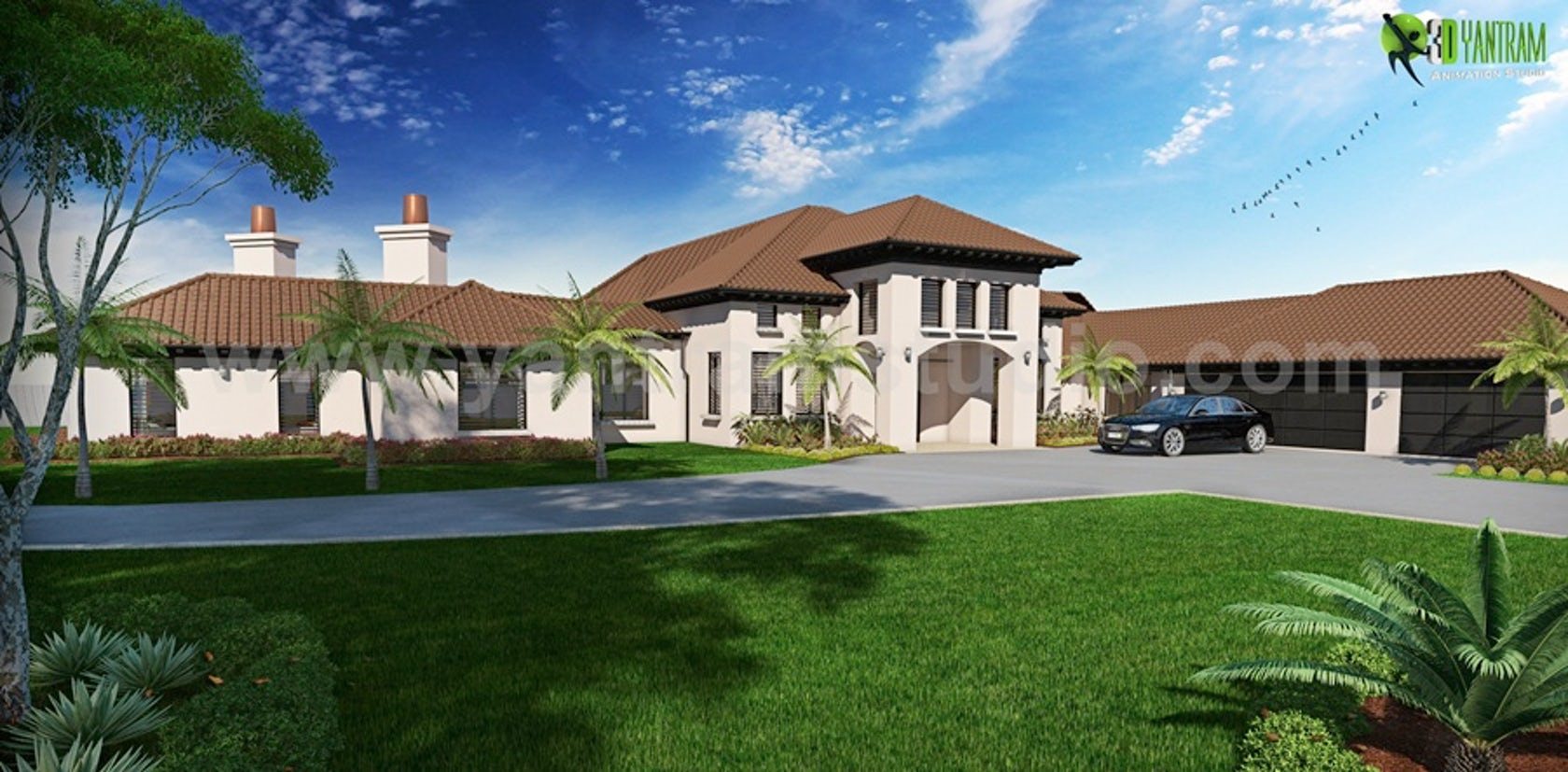 Dream house residential 3d rendering front back view for Dream house 3d