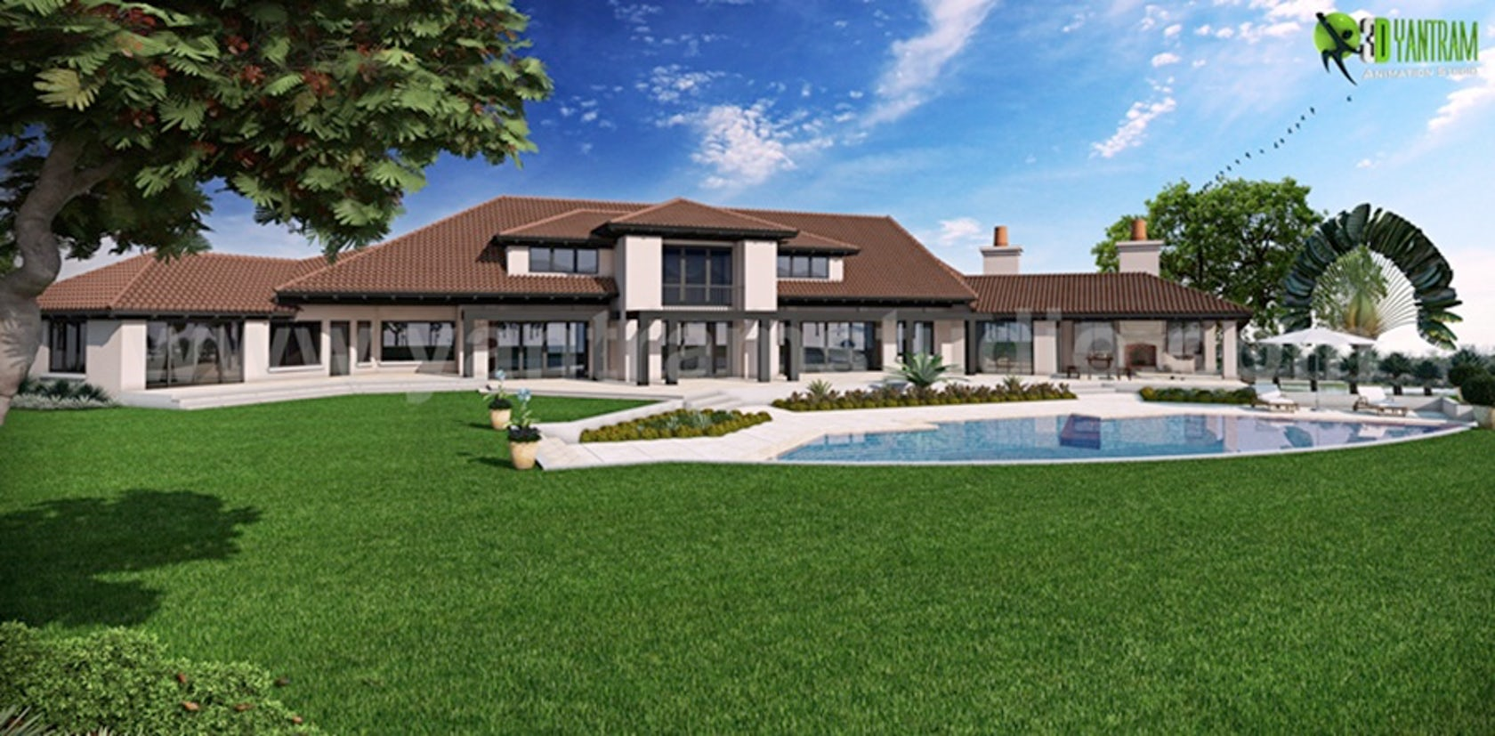 Exterior: Dream House Residential 3D Rendering Front & Back View