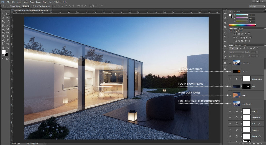 """The Art of Rendering: How to Create """"Lugano Lake House"""" Using SketchUp, V-Ray and Photoshop"""