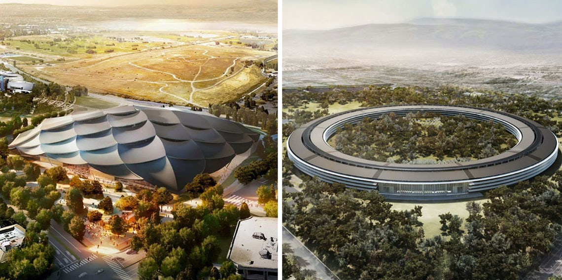 Tech's Architectural Face-Off: Google Campus vs  Apple Park