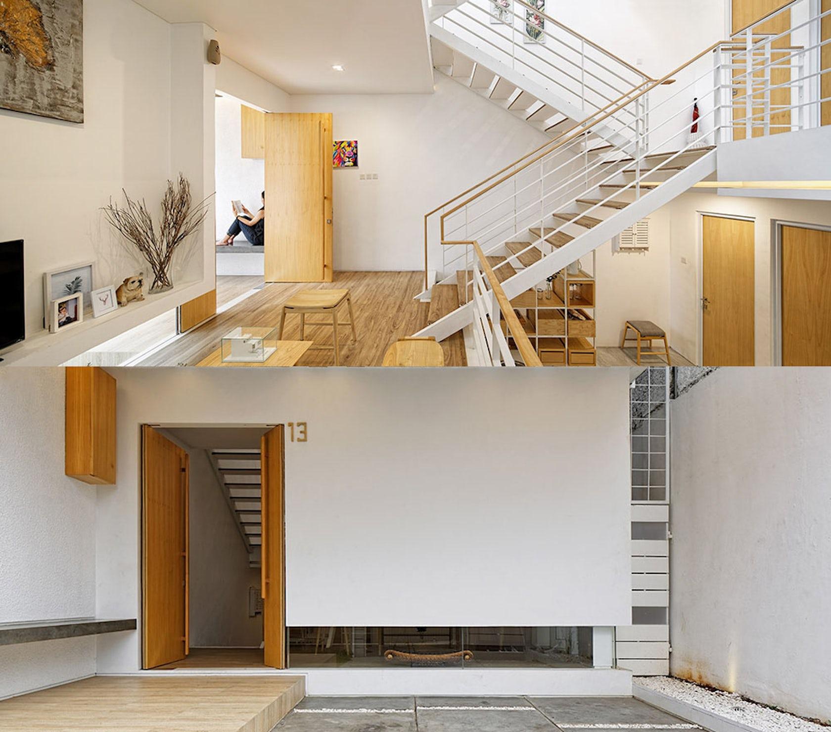 Dari penjelasan proyek di website resmi Delution, konsep split house pada rumah ini menciptakan jenis lantai yang terhitung setengah. Susunannya ada lantai setengah, lantai satu, lantai satu setengah, lantai dua dan lantai dua setengah.