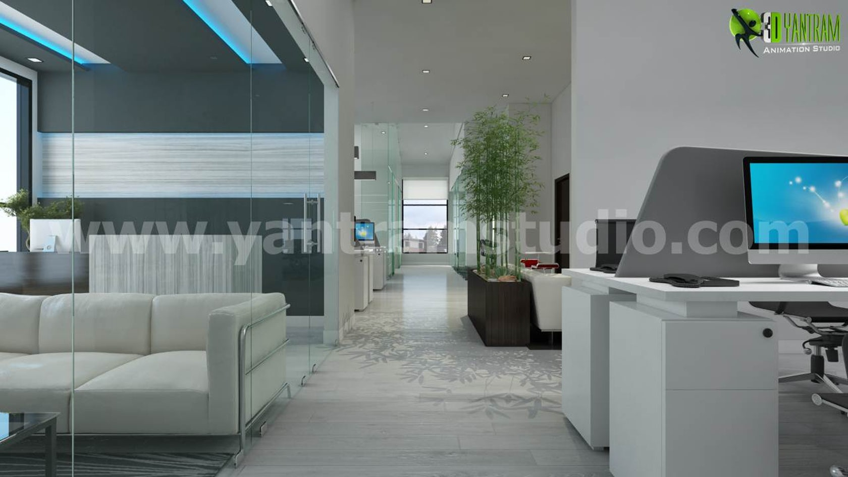Beautiful 3d Interior Office Designs: 3D Architectural Rendering Of Office Space (Interior And