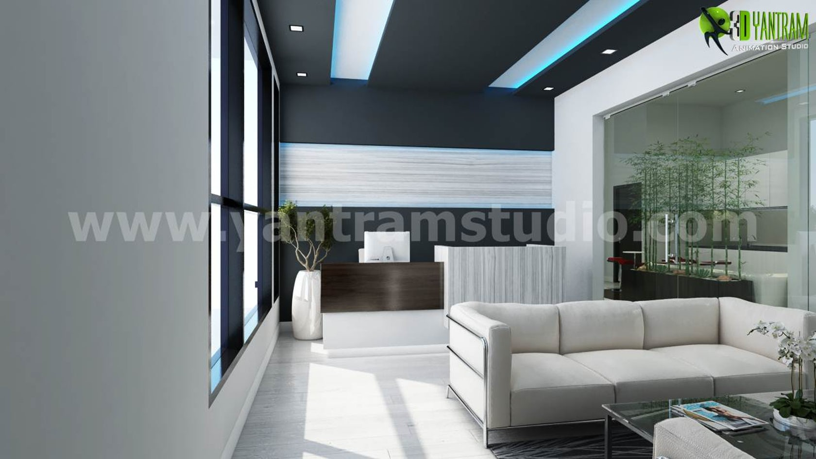 Modern Architecture Office Interior: 3D Architectural Rendering Of Office Space (Interior And