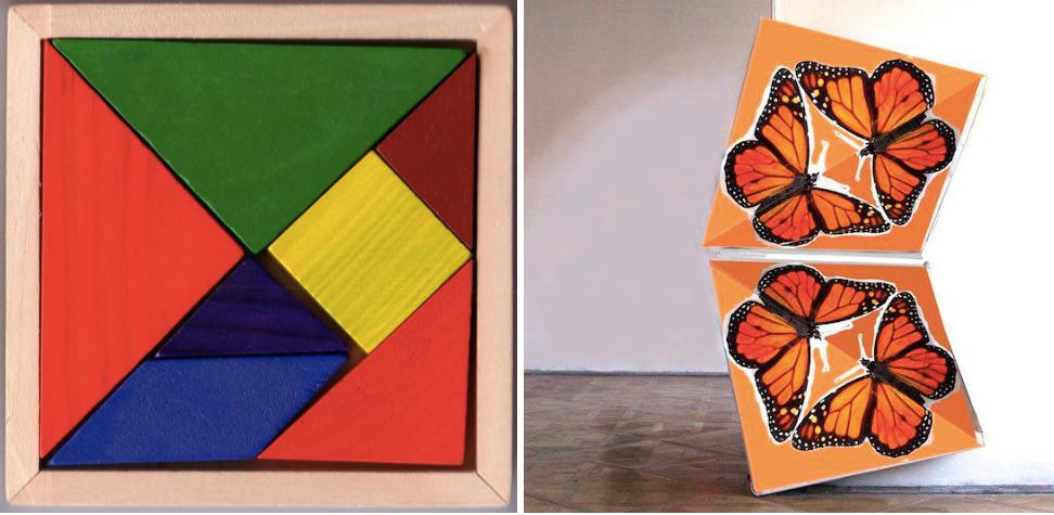 Left Tangram via Wikipedia; right butterfly painted door via Klemens Torggler & Dancing Doors: The Law-Defying Designs of Klemens Torggler ... pezcame.com