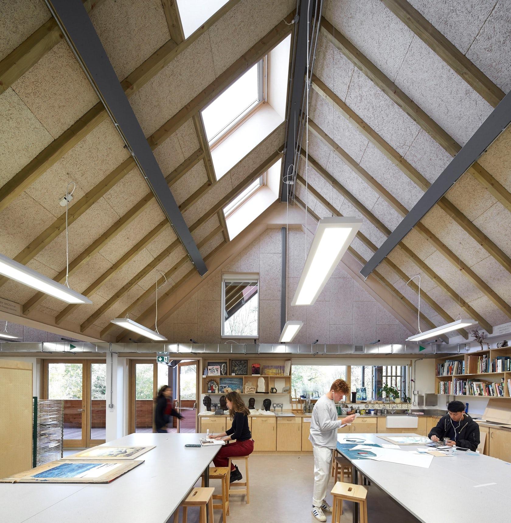 bedales architecture building clegg feilden bradley studios crow hufton barn creates education architizer inspired north studio walkway canopy timber dezeen