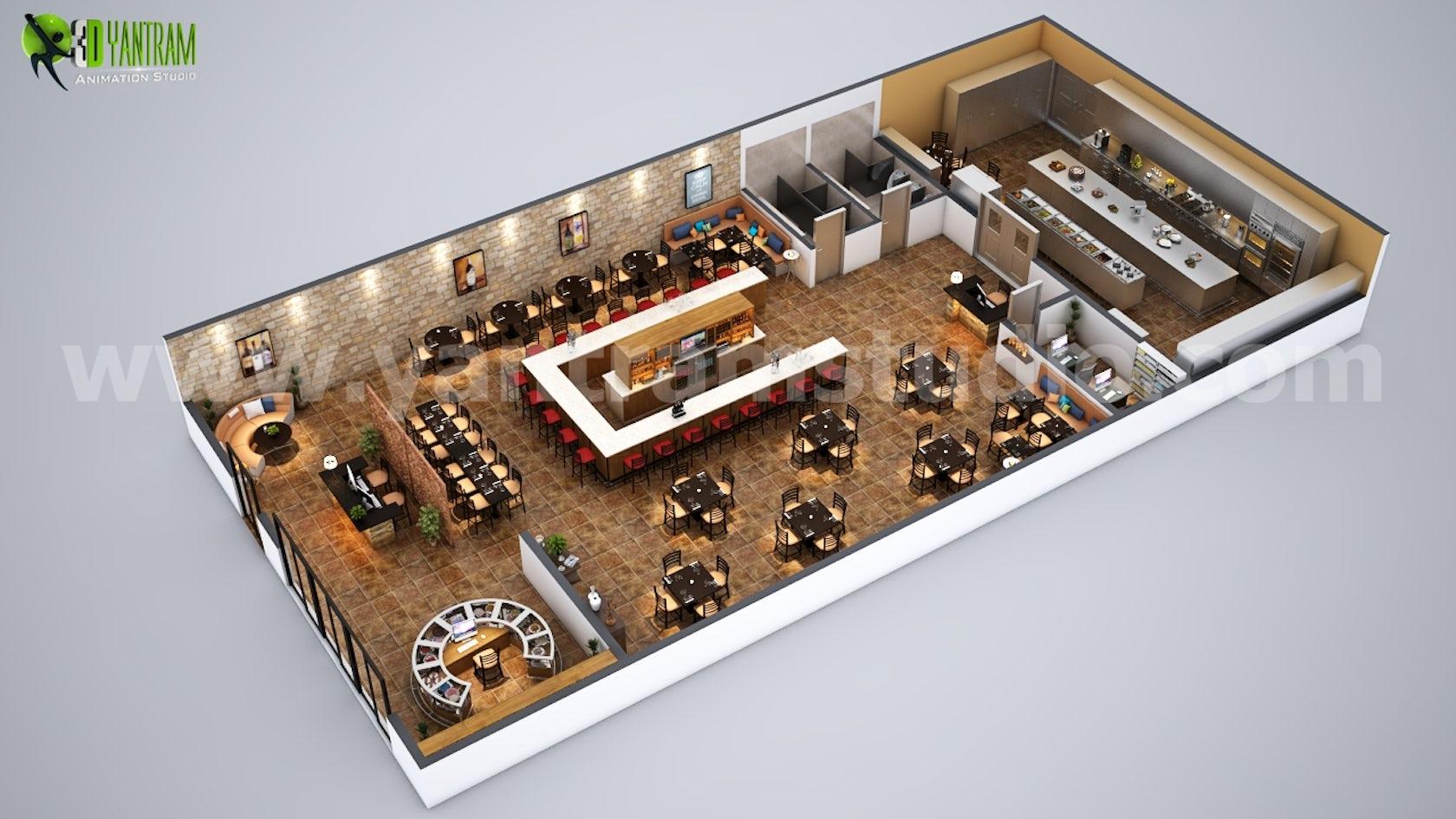 Fully Modern Bar 3D Floor Plan Design Ideas Bern