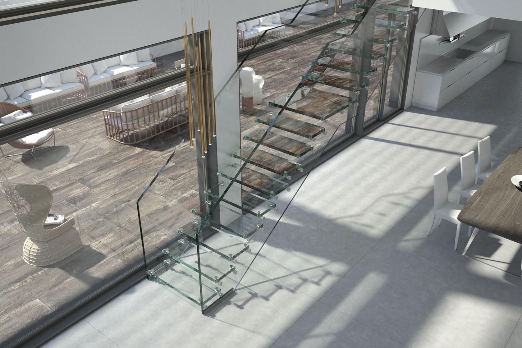 Mistral Shine By Siller Stairs Features All Glass Treads Bolted To A  Straight Glass Double Guardrail