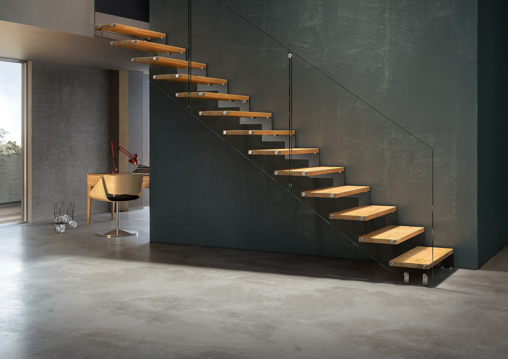 Superb Diagram Of Floating Stair Tread Insert With Wall Inserted Brackets; Image  Via Diamond Stairs