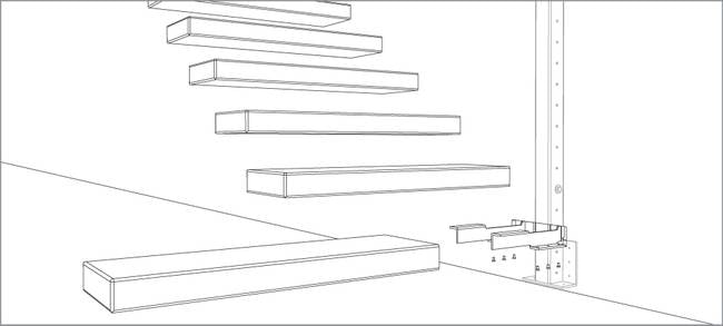 Delightful Diagram Of Floating Stair Tread Insert With Wall Inserted Brackets; Image  Via Diamond Stairs