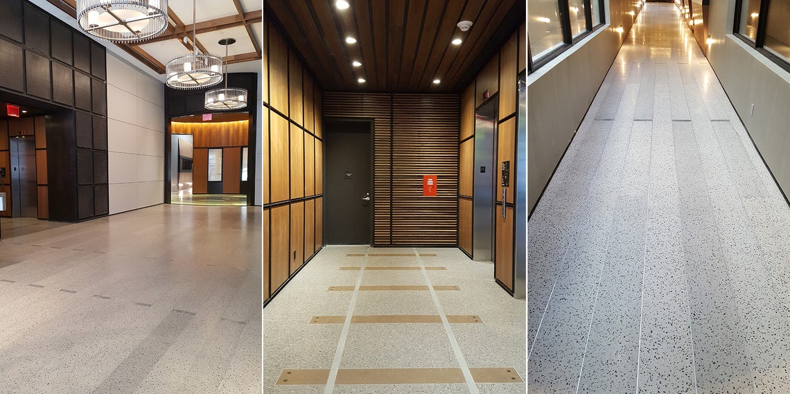 How To Detail Concrete Inspired Poured In Place Terrazzo