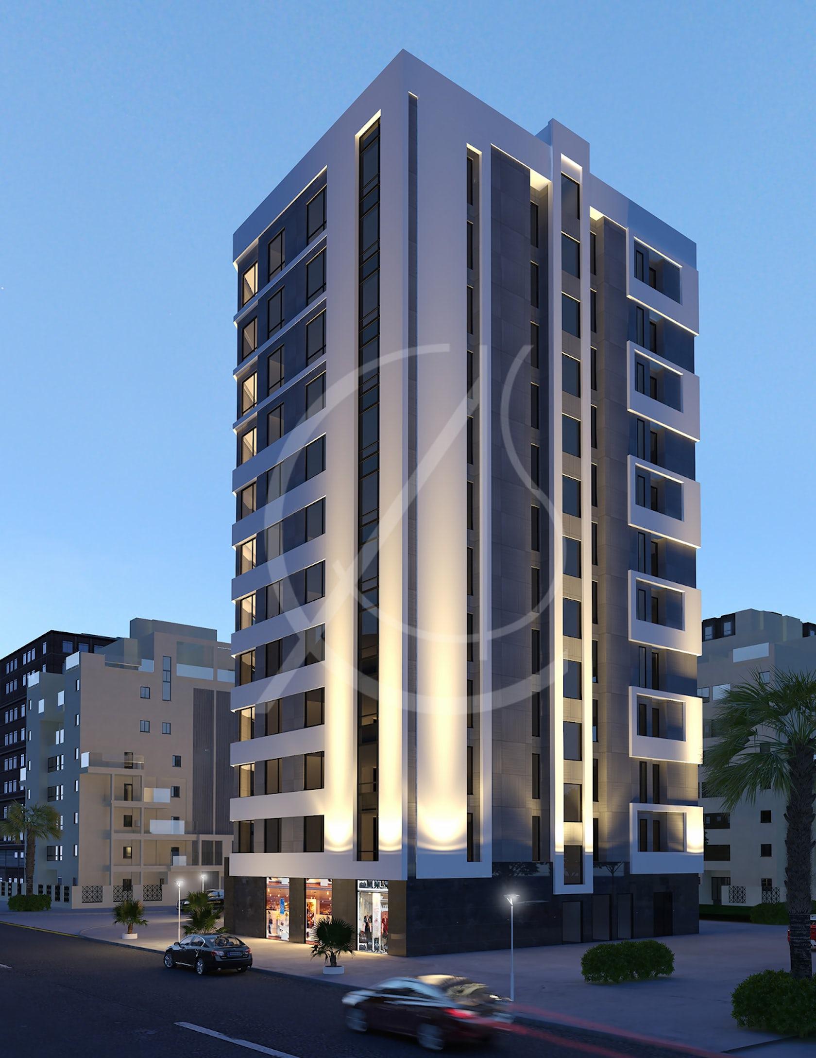 12 Story Modern Apartment Exterior Design