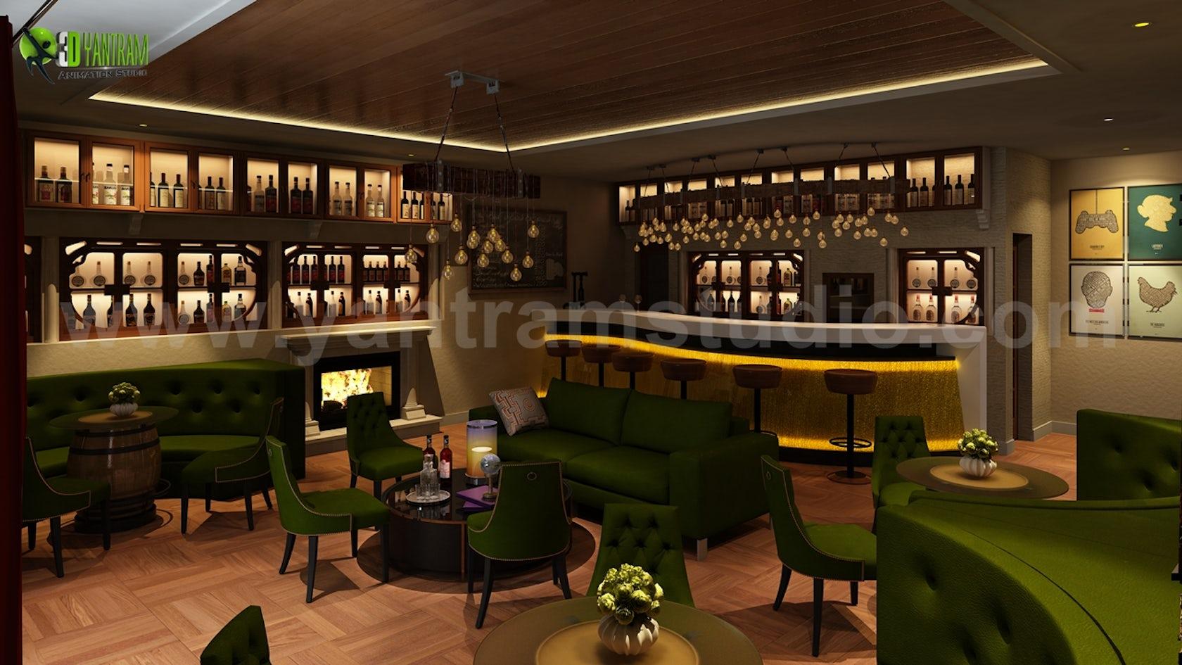 Bar & Restaurant interior design by Yantram 3D Interior ...
