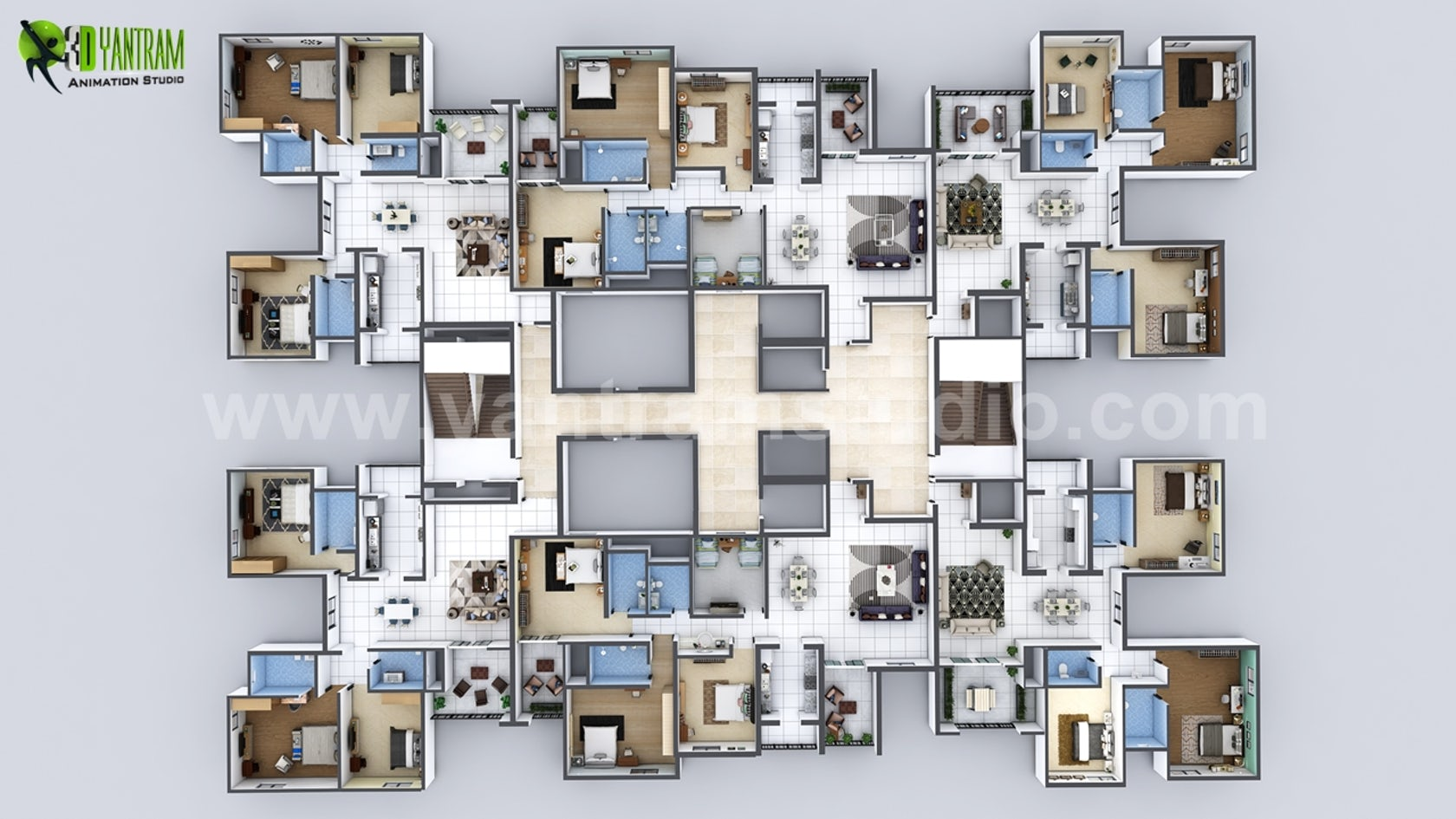 Creative 3D Floor Plan Of Entire Apartment Floor Design