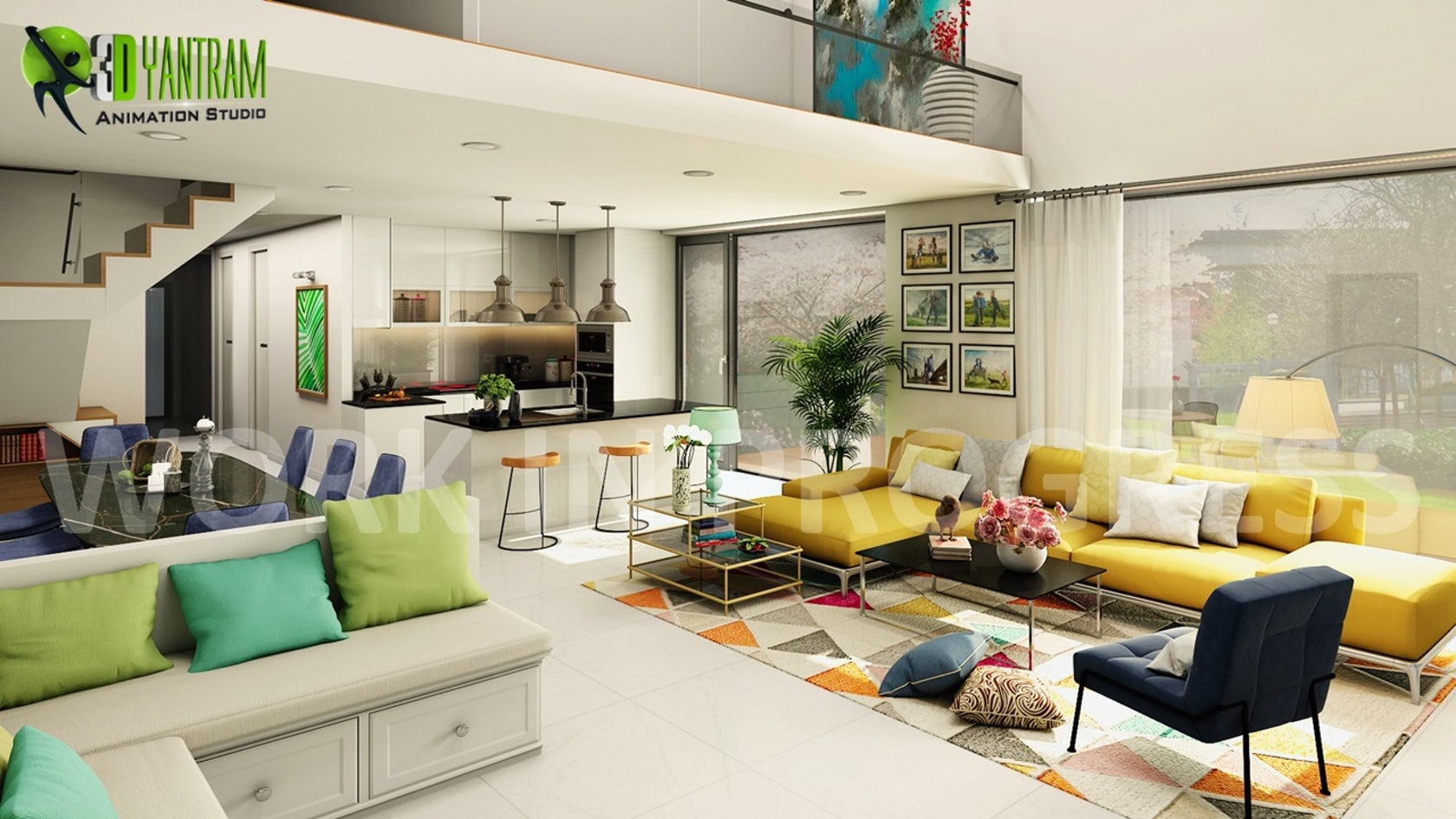 3D Interior Open Kitchen with Living Room Modeling Design ...