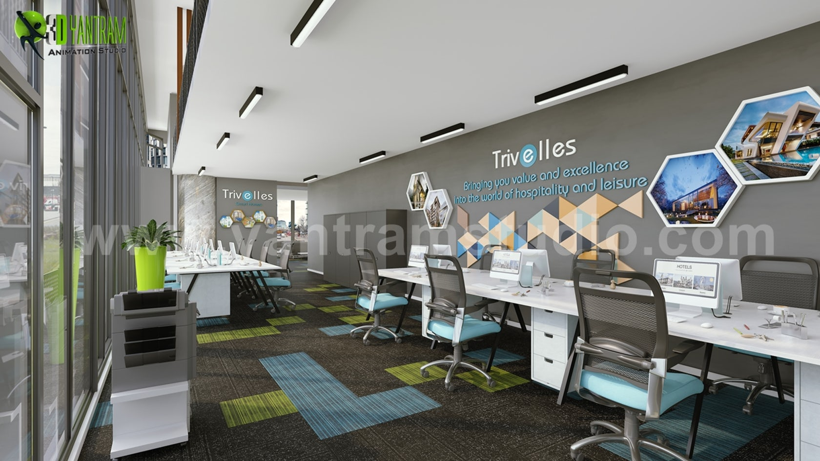 Innovative 3d Office Interior Design By Yantram Architectural Rendering Companies On Architizer