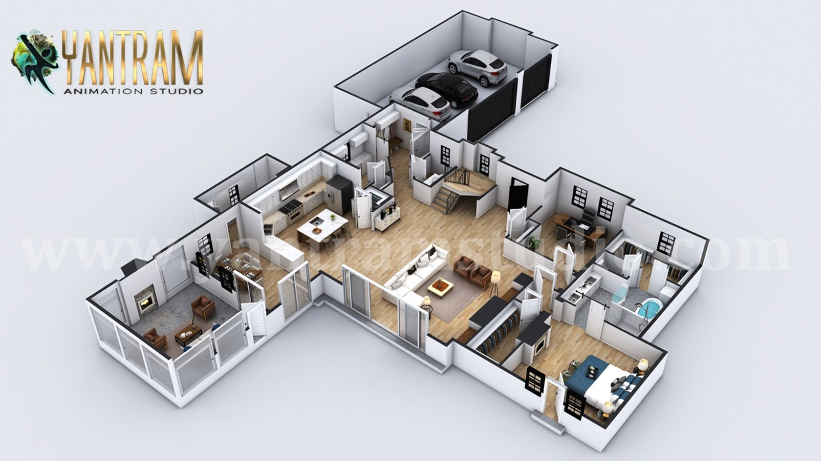 4 Bedroom Modern Residential 3d Floor Plan House Design By Architectural Exterior Visualization Design Company Architizer
