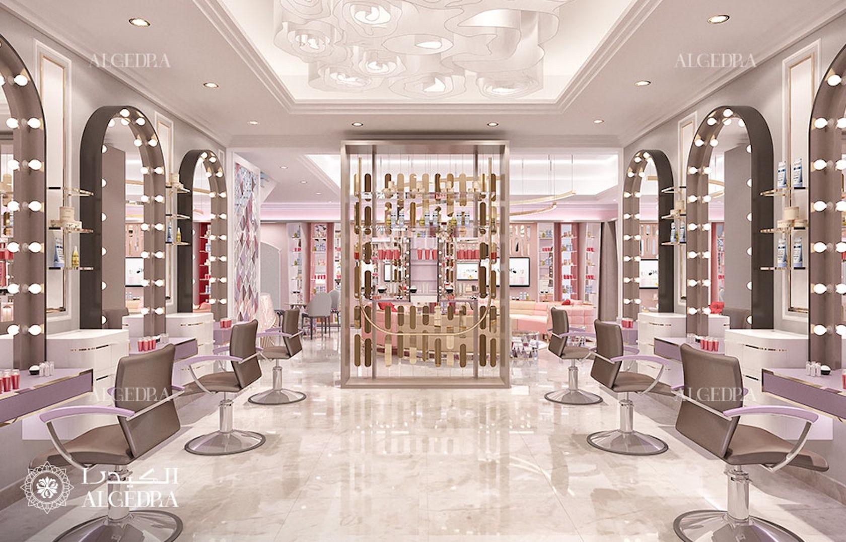 Ladies beauty salon in Dubai interior by ALGEDRA design