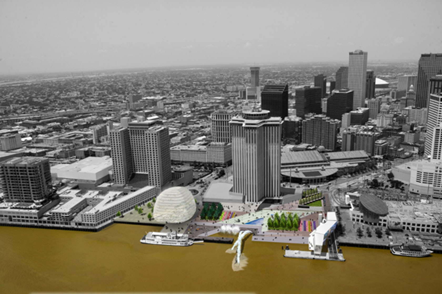 reinventing the crescent new orleans riverfront plan architizer. Black Bedroom Furniture Sets. Home Design Ideas