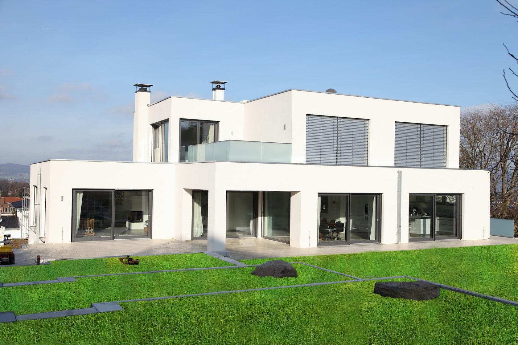 neubau eines wohnhauses im bauhausstil mit kfw 70 standard architizer. Black Bedroom Furniture Sets. Home Design Ideas