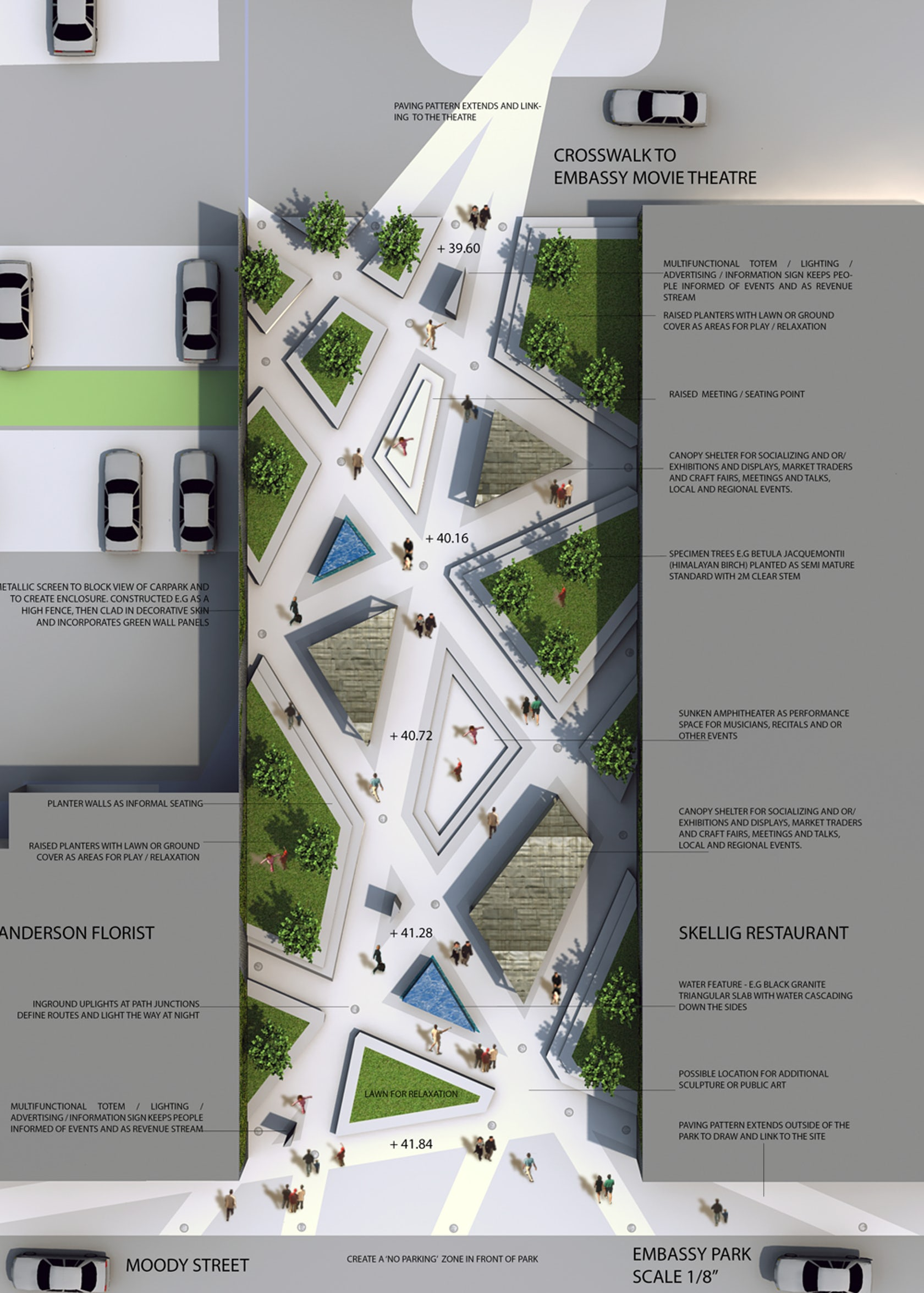 landscape park plan urban architecture competition embassy competitions parking plans drawing pocket architizer planning parks tech between idea master urbano