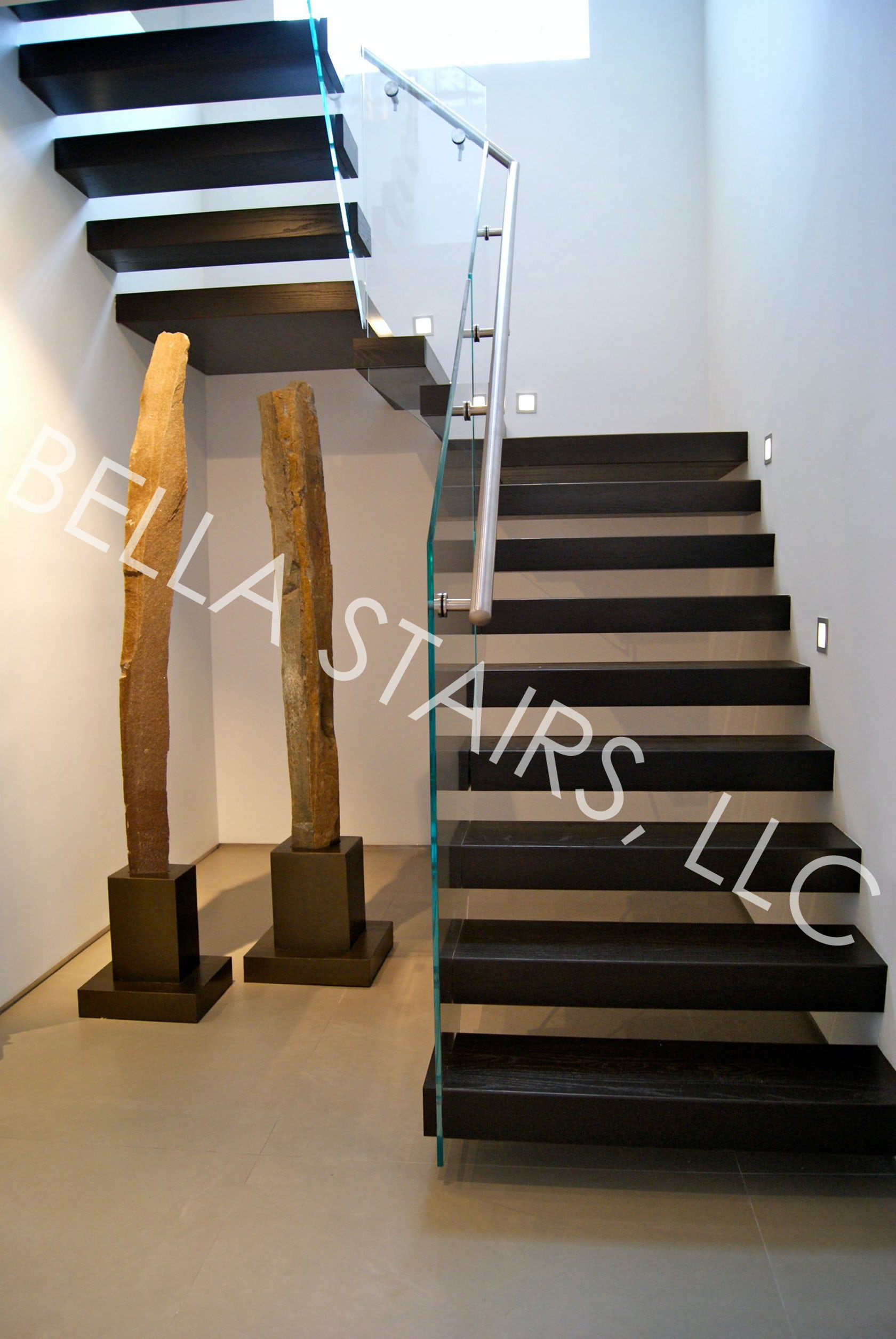 Floating Wood Staircase Glass Railing Architizer